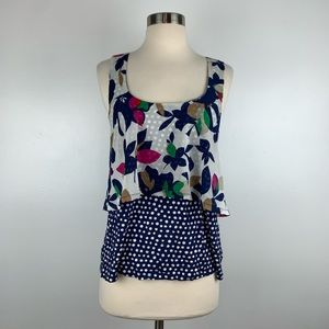 Anthro Meadow Rue Flounce Floral Top D3551